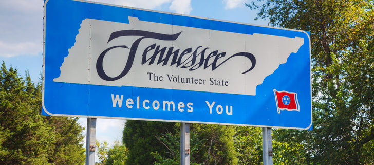 Tennessee welcomes you sign at he state border